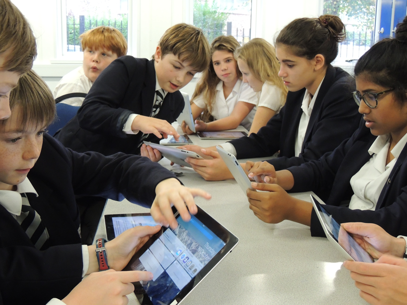 Alleyn's boys and girls in an ALP session with iPads