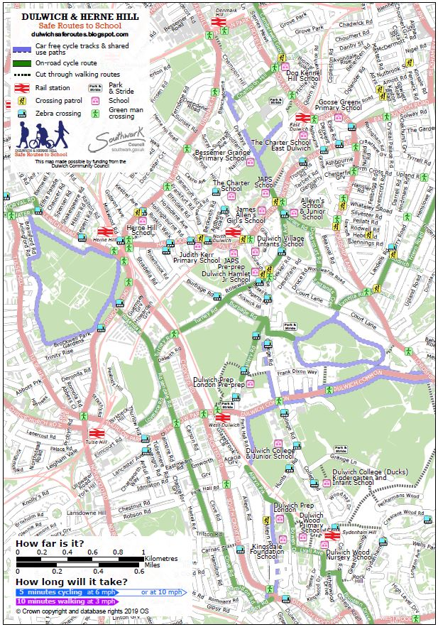 Map to show safe routes to schools in Dulwich and Herne Hill