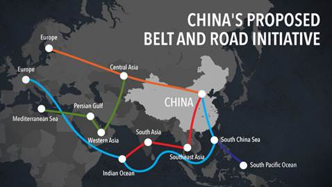 Image of China's Proposed Belt and Road Initiative