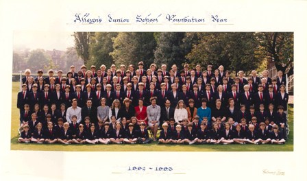 Photograph of the first children at Alleyn's Junior School, 1992