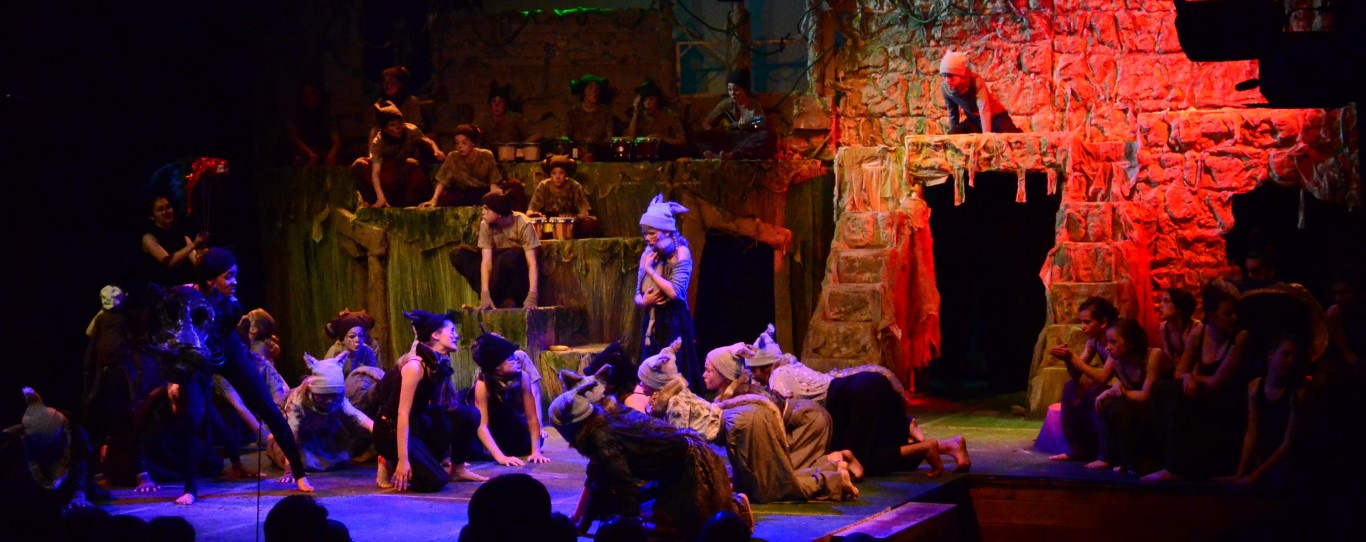 Alleyn's pupils on stage during the Jungle Book production