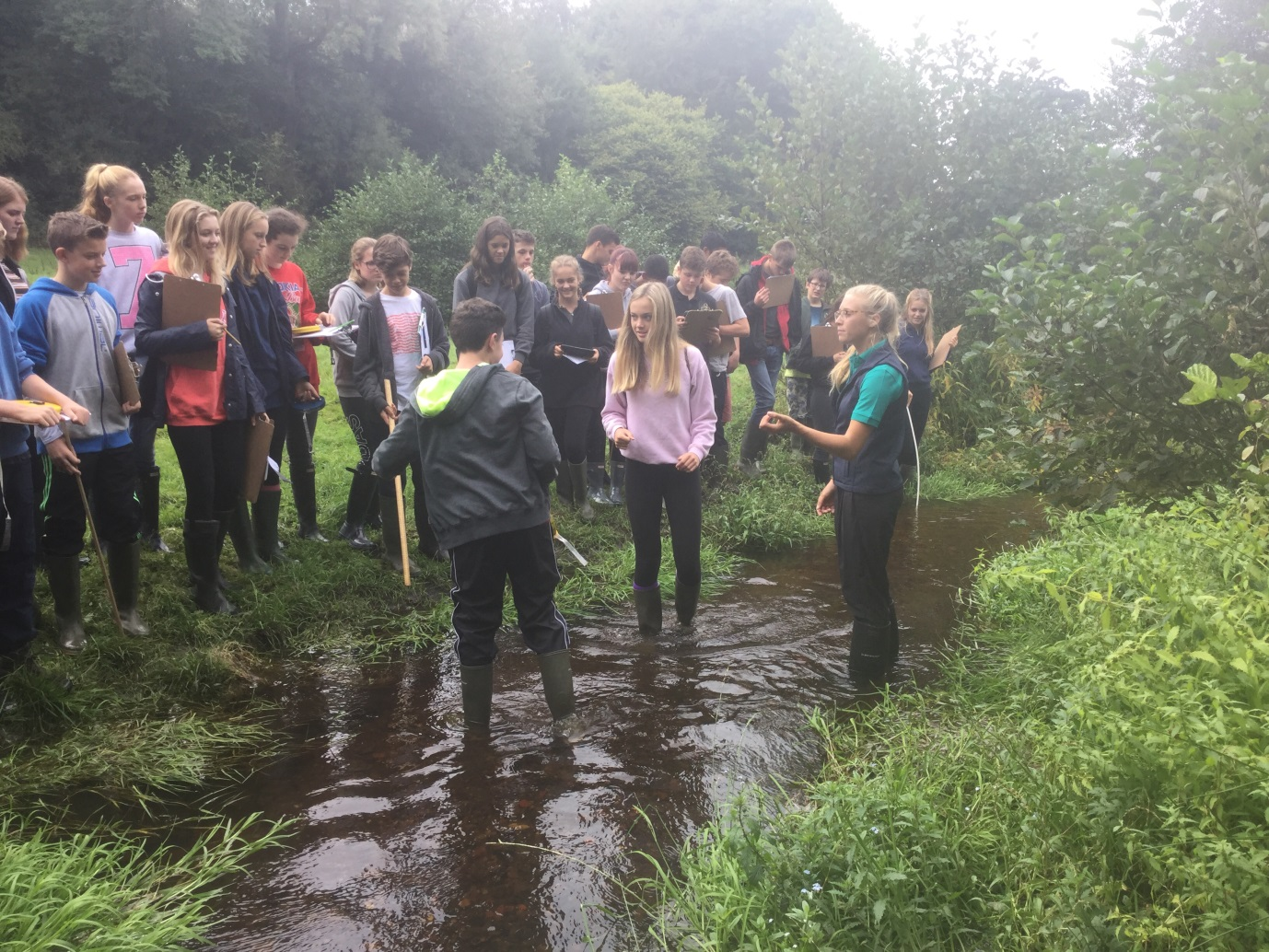 Alleyn's boys and girls stand in a stream during a geography field trip