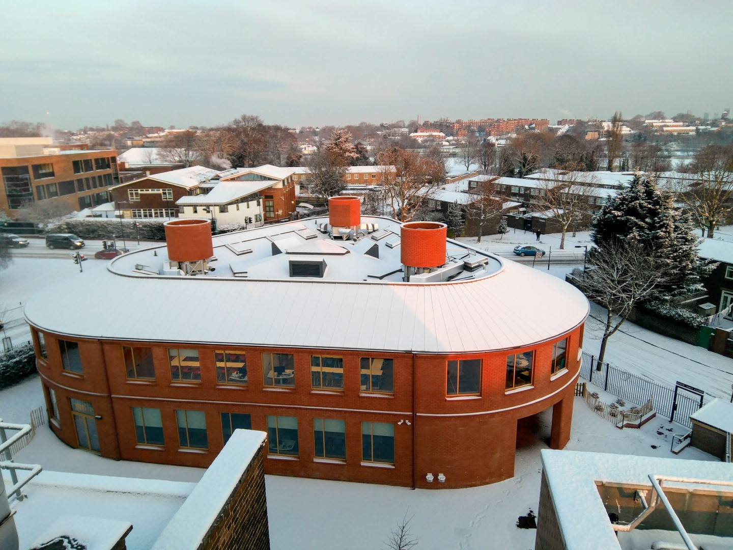 Alleyn's Lower School Building shown in the snow of March 2018