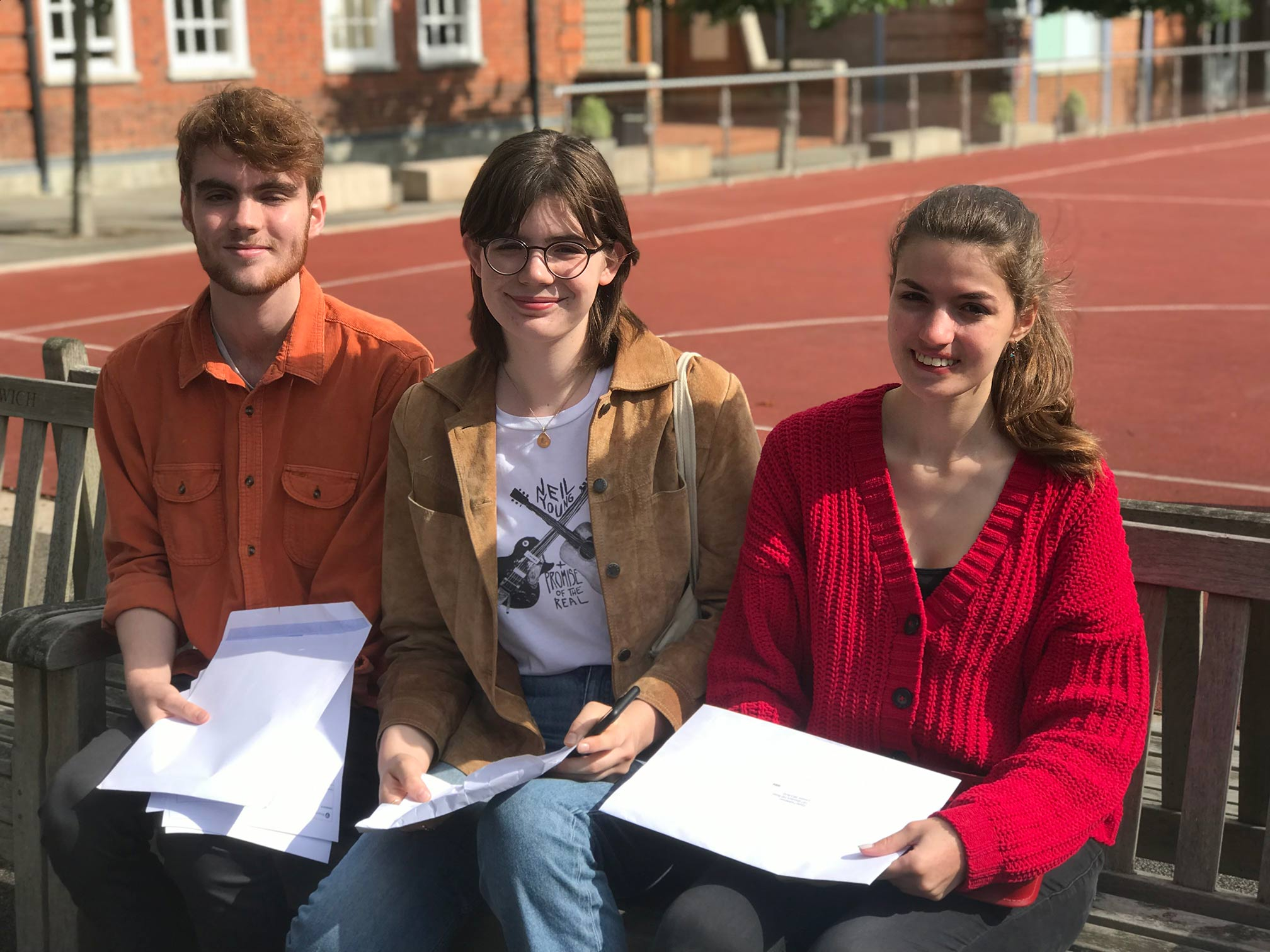 Alleyn's pupils celebrating receiving their exam results